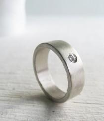wedding photo - Men's wedding band - palladium sterling silver and Moissanite engagement ring - his and hers - his and his - hers and hers