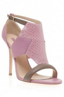 wedding photo - Boutique 1 - ELIE SAAB - Pink Calfskin And Python Sandals