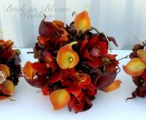 wedding photo - Fall wedding bouquet set, Autumn wedding flowers - Red orange and brown Bridesmaid bouquets, Boutonnieres