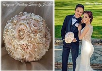 wedding photo - Gold and Pink Jeweled BROOCH BOUQUET, Custom Brooch Bouquet, Rose Gold Wedding Bouquet, Gold Accented Brooch Bouquet,Jeweled Bouquet-Deposit