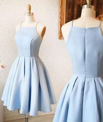 wedding photo - Cute A-Line Halter Light Blue Short Homecoming/Prom Dress Sold By Dressthat