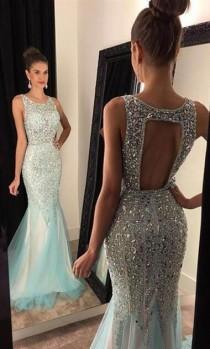 wedding photo - 2017 Elegant Mermaid Prom Dresses,Backless Beading Evening Dresses,Tulle Formal Dresses,257 From DressyBridal