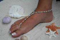 wedding photo - Barefoot Sandal - Simply Elegant  White Pearls and Blue Pearls. Wedding shoes, Bridal Shoes, Beach Wedding Barefoot Sandals, Pearl Sandals