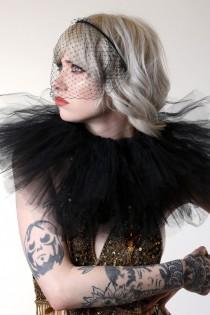 wedding photo - Jennifer Lawrence style veil, black veil headband.