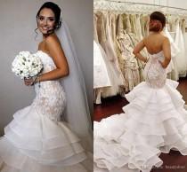 wedding photo - Pnina Tornai Wedding Dresses 2016 Lace Mermaid Appliques Tiers Skirts Wave Details Wedding Dresses Beads Tulle Long Train Wedding Gowns