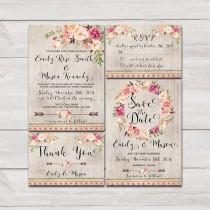 wedding photo - Floral bohemian Wedding Invitation Printable Wedding Invitation Suite Rustic Wedding Invite Boho Wedding Invite Roses Peonies Wedding Invite