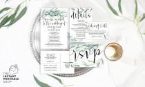 wedding photo - Eucalyptus wedding invitation set, Watercolour wedding invitation template, Rustic wedding invitation template, Outdoor wedding invitation