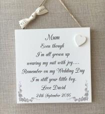 wedding photo - Mother of The Groom Plaque Groom's Gift Wedding Shabby Chic Sign Wooden W112