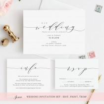 "wedding photo - Wedding invitation template, invitation set. Printable wedding invitation, rsvp and info card. DIY invitations. Edit, print, trim! ""Wedding"""