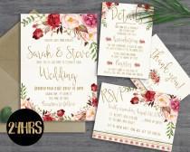 wedding photo - Printable wedding invitation - Wedding invitations set - Printable wedding invitation suite - Wedding invites template download - invite set