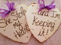 wedding photo - Wedding Photo Props Engagement Photo Props - SET of 2 Wood Hearts Wood Signs For Him and Her - Save the Date She Stole my Heart...