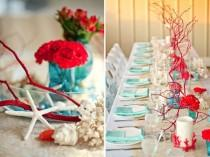 wedding photo - Blue And Red Table Settings