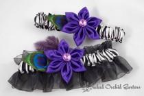 wedding photo - Purple Wedding Garter Set, Purple Garter, Peacock Garter, Zebra Garter, Purple Prom Garters, Prom 2016