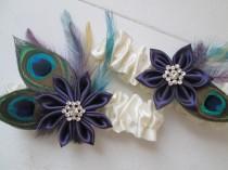 wedding photo - Peacock WEDDING Garter Set, Plum Purple Garters, Lapis Purple Garter, Ivory & Purple Wedding Garters, Kanzashi Flower, Keep-Toss Garters