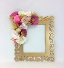 wedding photo -  Floral frame, Photo prop, 3D Flower wall art, Paper flower wall decor, Gold & coral flower frame, Wedding photo prop, Party photo frame - $58.00 USD