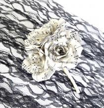 wedding photo -  Music note paper boutonniere, Music page Wedding boutonniere, Buttonhole paper flower, Paper flower corsage, Lapel flower, buttonhole - $15.99 USD