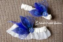 wedding photo - Blue Butterfly Wedding Garter Set, Royal Blue Garters, Ivory Bridal Garter, Something Blue Garter, Prom / Homecoming Garter