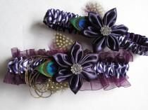 wedding photo - Peacock Wedding Garters, Purple Bridal Garters, Plum Purple Zebra Garters, Eggplant Garters, Purple Steampunk Garters