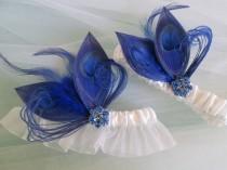 wedding photo - Blue BUTTERFLY Wedding Garter Set, Royal Blue Garters, Peacock Garters, White Bridal Garter, Something Blue Garter