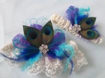 wedding photo - Peacock Wedding Garter Set, Royal Blue Garters, Teal Blue Garter, Turquoise Garter, Purple Garters, Ivory Lace Bridal Garter, Something Blue