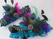 wedding photo - Teal Wedding Garter Set, Leopard Garters, Peacock PROM 2015 Garters, Feather Bridal Garters for Masquerade Ball / Steampunk Wedding