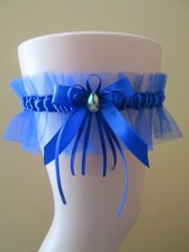 wedding photo - Royal Blue Prom / Homecoming Garter, Royal Blue Wedding Garter, Royal Bridal Garter w/ AB Crystal & Bow, Something Blue, Toss Garter
