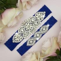 wedding photo - Something Blue Garter, Royal Blue Garter, Royal Blue Wedding Garter, Garter Belt, Wedding Garter Set, Lace Garter Set, Blue Garter Set, 3-1A