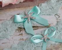 wedding photo - Beach Wedding Garter Set, Something Blue Bridal Garter Set, Aqua Blue Lace Garter, Lace Wedding Garter,  Beach Garter Set, Starfish Garter