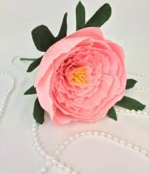 wedding photo -  Crepe paper peony with leaves, Paper peony, Crepe paper flower, Handmade paper peony, Paper flower, Wedding decor, Nursery decor, Home decor - $5.99 USD