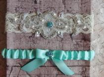 wedding photo - Aqua Blue Wedding Garter Set, Wedding Dress, Lace and Satin Bridal Garter, Something Blue Garter, Rhinestone Garter, Wedding Garder