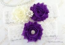 wedding photo - Wedding Garter Set, Bridal Garter, Belt, Shabby Chiffon Rosette Ivory Purple Garter, Sexy Garter, Handmade Garter, Wedding Garter GTF0026P
