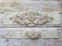 wedding photo - SALE - Wedding Garter, Bridal Garter, Garter Set - Crystal Rhinestone & Pearls - Style G8001