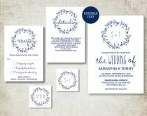wedding photo - Wedding invitation template, Navy Classic Wreath Wedding Invite printable, Digital PDF, simple wedding invitation, editable text