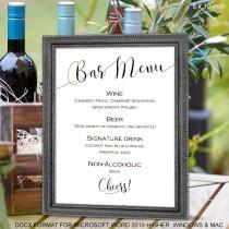 wedding photo - Wedding bar menu sign, Printable, bar menu, template, instant download, sign for wedding, S2