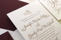 wedding photo - The Cranberry Suite - Classic Letterpress Wedding Invitation Sample - Gold, Deep Red Liner, Formal, Simple, Traditional, Monogram, burgundy