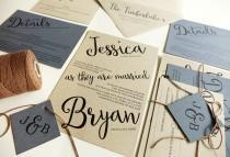 wedding photo - Blue Rustic Wedding Invitations, Kraft Paper with Brown Twine, Angled Script Modern Wedding Invitation Set, Light Blue, Hydrangea Periwinkle