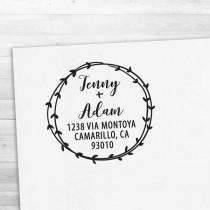 wedding photo - Return Address Stamp - Calligraphy & Handwriting Font. Handle or Self-Inking Return Address Stamp (R8828)