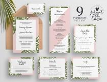 wedding photo - Tropical Wedding Invitation Suite, Printable Wedding Invitation Set, Palm Wedding invitation, Beach Wedding Invite, Tropico Suite (WS017)