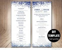 wedding photo - Modern Wedding Program Template,Navy Blue Program template,Blue Wedding Program double sided, DIY wedding program, Confetti Wedding Program