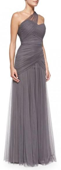 wedding photo - Bridesmaids One-Shoulder Draped Tulle Gown, Slate