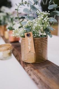 wedding photo - DIY Upcycled Metallic Tin Can Wedding Centerpieces