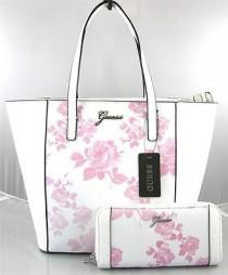 wedding photo - AUTHENTIC NEW NWT GUESS SONJA PINK WHITE TOTE BAG PURSE & WALLET