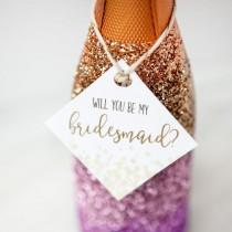 wedding photo - DIY Glitter Champagne Bottle Bridesmaid Proposal (with FREE Printables!)