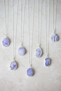 wedding photo - Periwinkle Druzy Stone Necklace