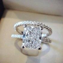 wedding photo - 2.00 Ct. Cushion Cut Pave Round Eternity Diamond Engagement Ring H,VVS2 EGL 18K