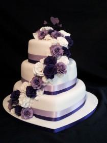 wedding photo - 3 Tier Heart Shaped Wedding Cake. Roses Cascading Down With A Purple Theme.... - Weddings And Events