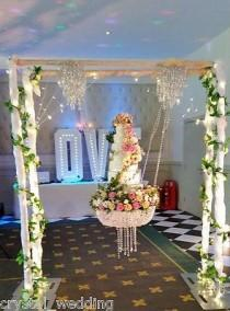 wedding photo - Details About Stunning Sparkling Crystal Chandelier Suspended Swing Wedding Cake Stand