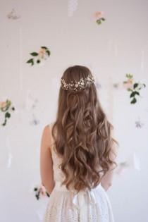 wedding photo - Blossom And Pearl Headpiece, Babies Breath Headpiece, Bridal Halo, Flower Crown, Flower Hair Vine, Gypsophila Crown, Pearl Halo, Hair Flower