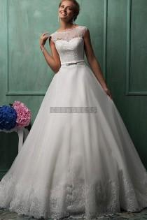 wedding photo - Ball Gown Capped Sleeves Sash Lace Wedding Dress