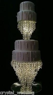 "wedding photo - Details About Chandelier Cake Stand Crystal Cake Stand For Wedding In 6"" To 20"" Round /square"